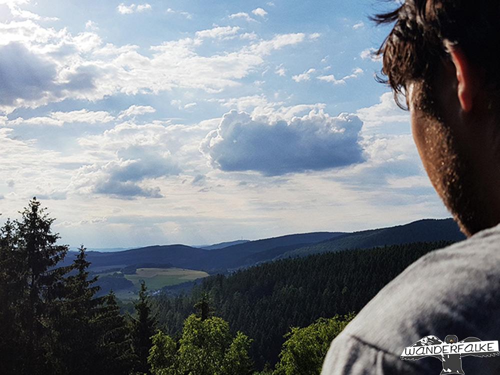 Wanderfalke Silas Landeck blickt in die Ferne Ausblick