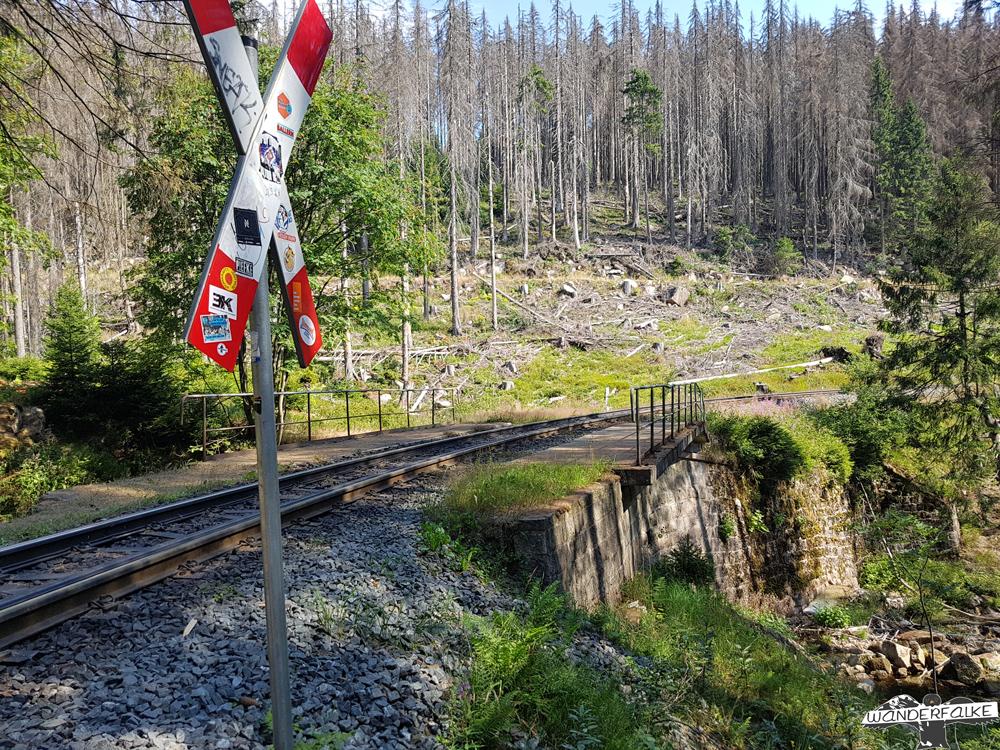Aufkleber auf Andreaskreuz im Harz