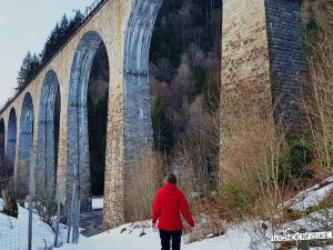 Ravennabrücke und Wanderin Wanderfalke