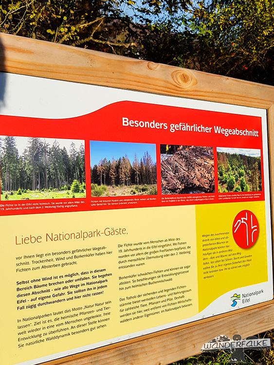 Warnhinweis Borkenkäfer Nationalpark Eifel Wanderweg Buntsandsteinroute