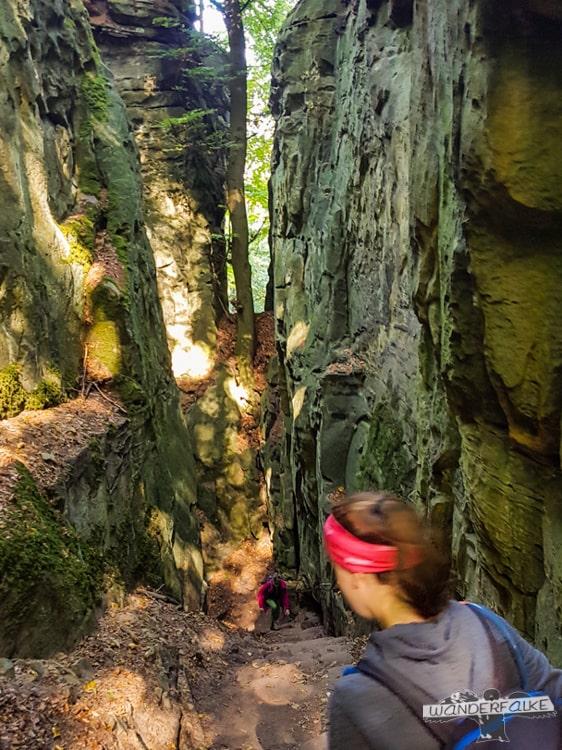Eingang Felsenweg Teufelsschlucht Ernzen Echternach NaturWanderPark delux Wanderfalkeonline wandern