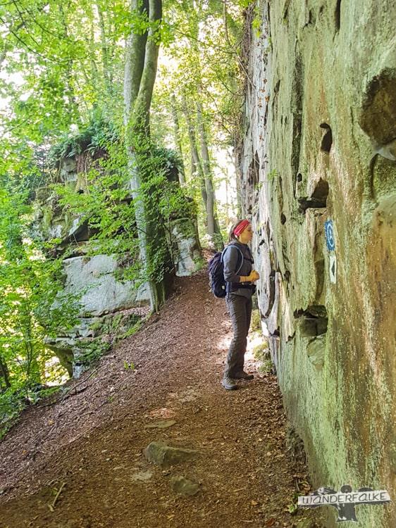 Schmale Pfade Felsenweg Teufelsschlucht Ernzen Echternach NaturWanderPark delux Wanderfalkeonline wandern