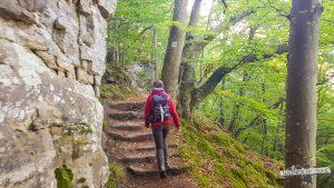 Treppen an Felsen Felsenweg Teufelsschlucht Ernzen wandern Wanderfalkeonline