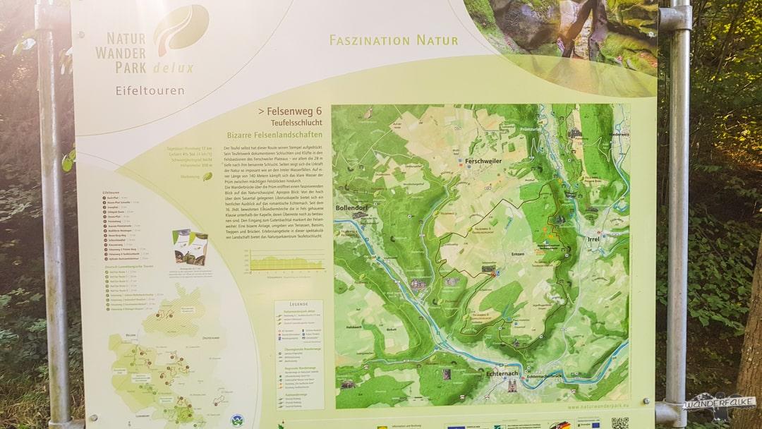 Wanderweg Felsenweg 6 in Ernzen-Echternach Teufelsschlucht Wanderschild Übersicht Felsenweiher wandern