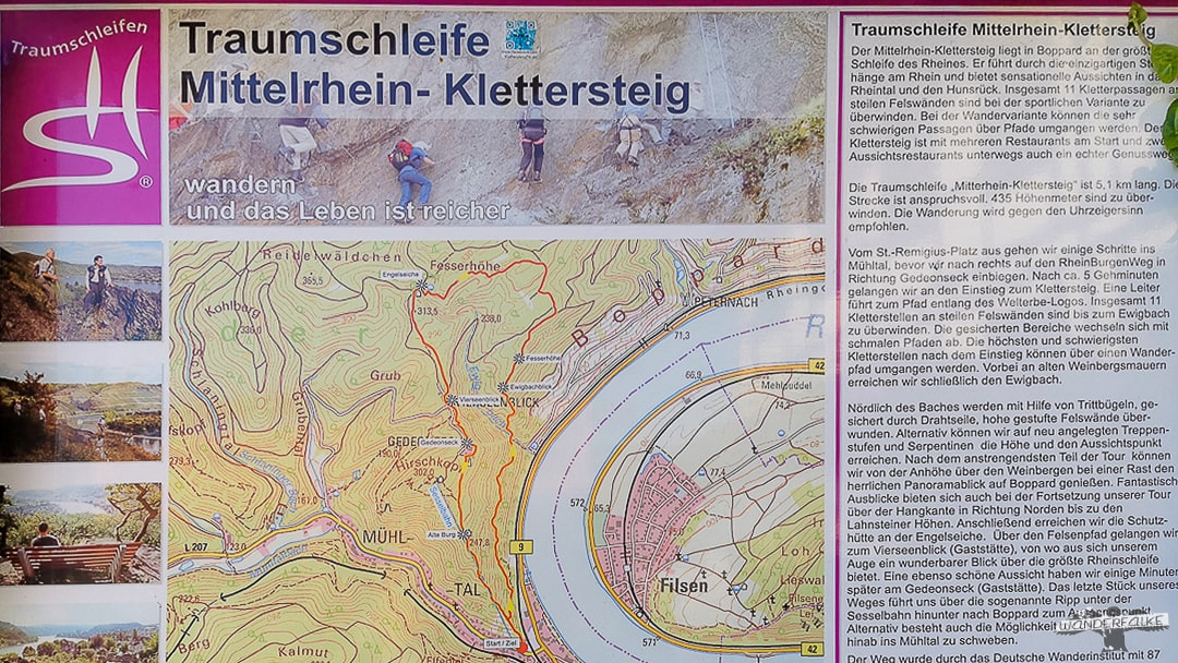 Mittelrhein Klettersteig Traumschleife Wandertafel