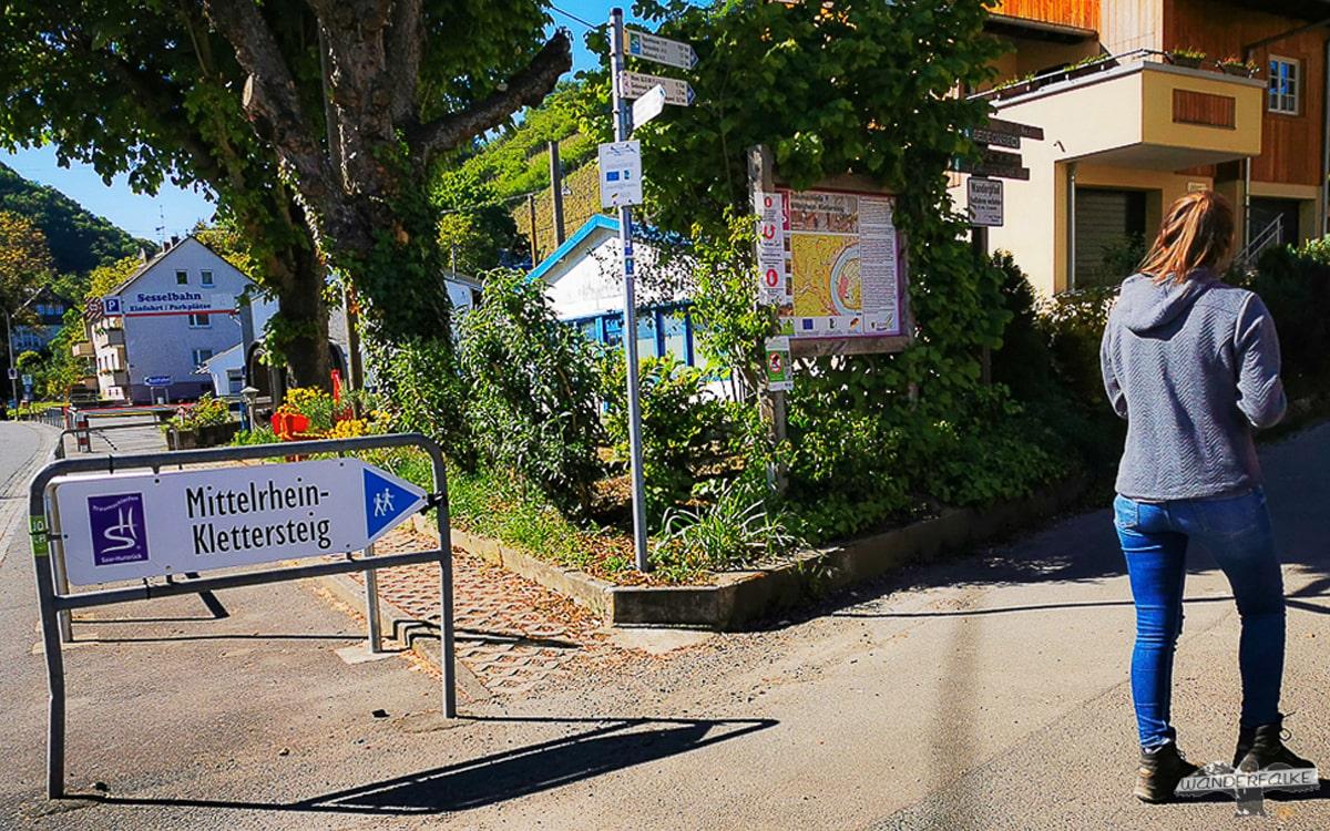 Startpunkt Mittelrhein Klettersteig Boppard Traumschleife Wanderweg
